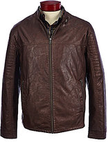Roundtree & Yorke Faux-Leather Distressed Moto Jacket