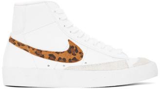 Nike White Leopard Blazer Mid 77 SE Sneakers