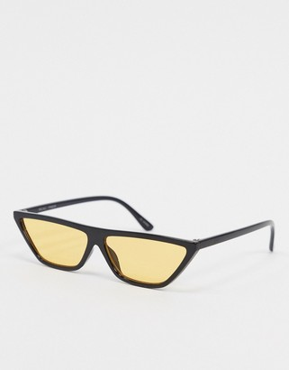 MinkPink Recall flat top square sunglasses in yellow