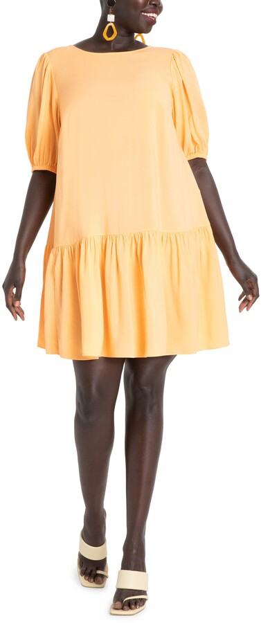 ELOQUII Puff Sleeve Tie Back Dress