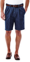 Haggar Work to Weekend Denim Short - Classic Fit, Pleated Front, Expandable Waistband