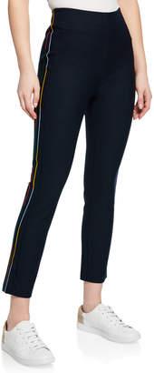 Derek Lam 10 Crosby Cropped Flare Trouser w/ Rainbow Stripe Embroidery