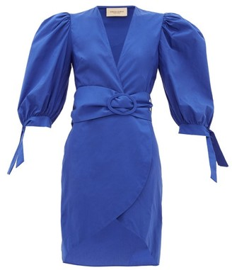 Adriana Degreas Majorelle Belted Cotton-taffeta Dress - Blue