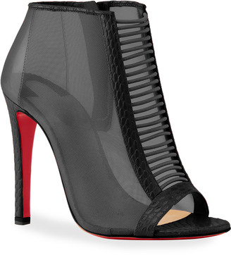 Christian Louboutin Trouble Mesh Peep-Toe Red Sole Booties