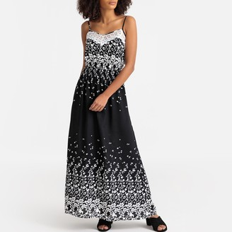 Molly Bracken Floral Print Maxi Dress with Lacing