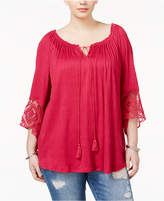 Eyeshadow Trendy Plus Size Lace-Trim Peasant Top