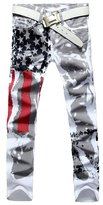 Nothar Men's Fashion American Flag Printing Causal Pants Demin Trouser Jeans