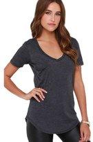 Pooqdo Women T-shirt V-Neck Pocket Short Sleeve Top Blouse (L, )