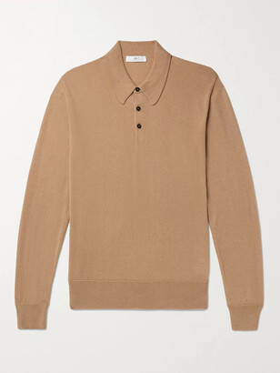 Mr P. Cashmere and Silk-Blend Polo Shirt - Men - Brown