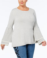 Style&Co. Style & Co Plus Size Ruffled-Sleeve Sweater, Created for Macy's