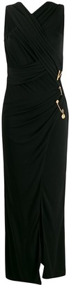 Versace Crossover Front Pin Detail Dress