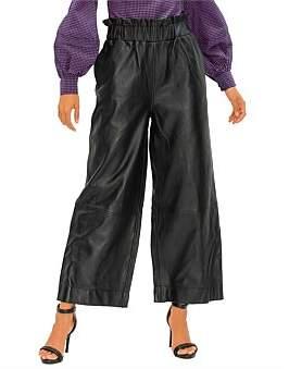 Ganni Lamb Leather Elastic Pants