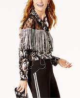 INC International Concepts Anna Sui x Lace-Yoke Fringed Western Shirt, Created for Macy's