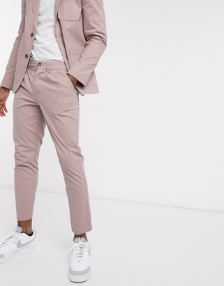 Asos DESIGN smart two-piece cigarette chinos with pleats in warm pink