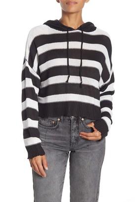 Elan International Stripe Drop Shoulder Knit Hoodie