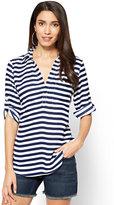 New York & Co. Soho Soft Shirt - One-Pocket Popover - Stripe