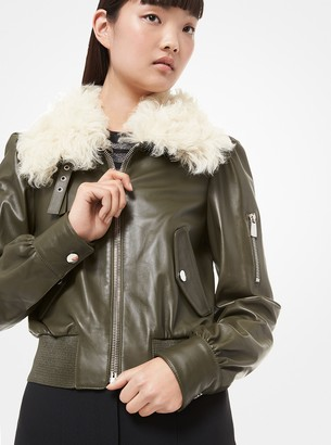 Michael Kors Shearling-Collar Plonge Leather Moto Jacket
