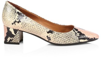 Aquatalia Pasha Snakeskin-Embossed Leather Pumps