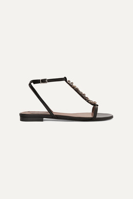 Tabitha Simmons Shell-embellished Leather Sandals - Black