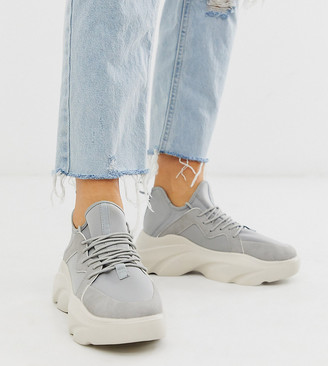 ASOS DESIGN Wide Fit Director chunky lace up trainers in grey
