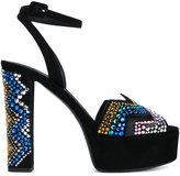 Giuseppe Zanotti Design suede crystal embellished platform sandals - women - Leather/Suede/PVC - 37.5