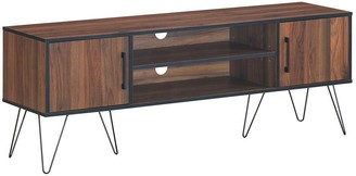 "Overstock 60"" TV Stand Media Center Storage Cabinet with Metal Leg - Walnut"
