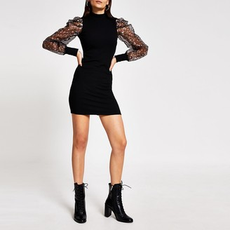 River Island Black long floral organza sleeve mini dress