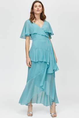 Oasis Warehouse Aqua Ruffle Wrap Maxi Dress