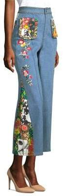 Alice + Olivia Reina Embroidered Denim Pants
