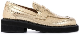 Marni Snakeskin-Embossed Leather Loafers