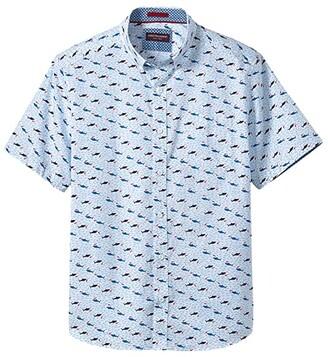 Johnston & Murphy Short Sleeve Shark Print (White) Men's Clothing
