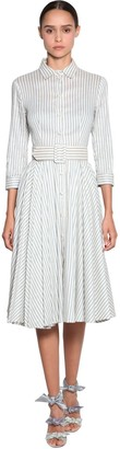 Luisa Beccaria Striped Linen Shirt Dress