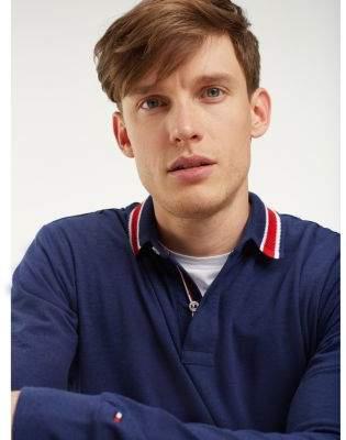 Tommy Hilfiger Stripe Collar Long Sleeve Polo