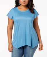 INC International Concepts I.n.c. Plus Size Handkerchief Hem T-Shirt, Created for Macy's