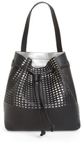 Street Level Perforated Faux Leather Drawstring Tote - Black
