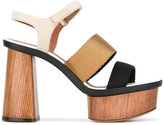 Emporio Armani platform sandals - women - Leather/Suede/Viscose - 38