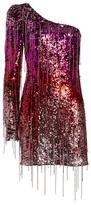 Amen One-Shoulder Sequin Fringe Mini Dress