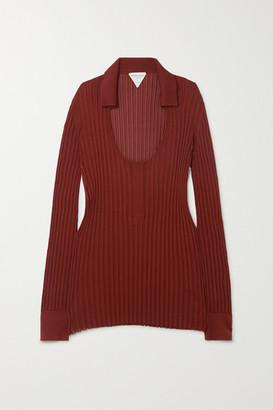 Bottega Veneta Ribbed Silk-blend Sweater - Orange
