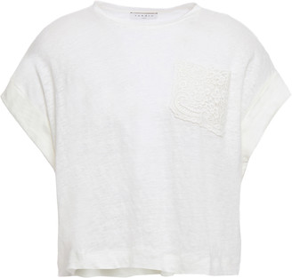 Sandro Maurice Cropped Lace-trimmed Linen-jersey T-shirt