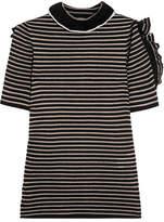Sonia Rykiel Cutout Ruffled Striped Metallic Cotton-blend Top