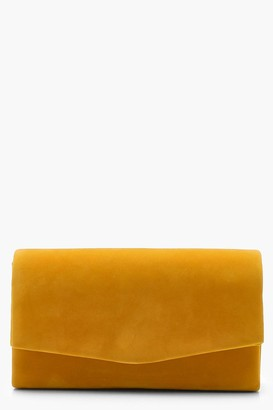 boohoo Structured Suedette Clutch Bag & Chain