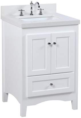 Kitchen Bath Collection Abbey Bath Vanity, Top: Quartz, Base: White, 24""