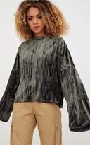 PrettyLittleThing Khaki Pleated Velvet Oversized Sweater