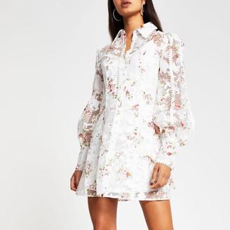 River Island Womens Cream long sleeve pom pom trim shirt dress