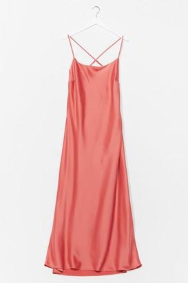 Nasty Gal Womens Sleeking for Ourselves Plus Satin Midi Dress - Amber