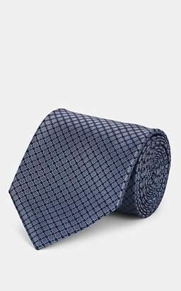Brioni Men's Geometric-Pattern Silk Satin Necktie - Gray