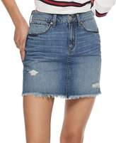 Mudd Juniors' Deconstructed Denim Mini Skirt