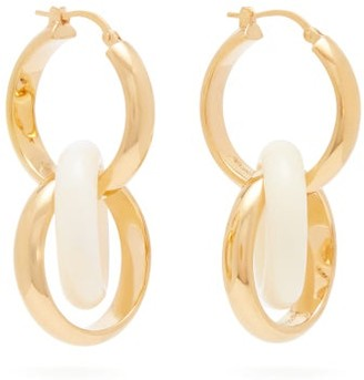 Bottega Veneta Double-hoop Gold-plated Silver & Bone Earrings - Womens - Gold