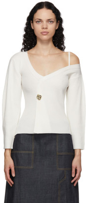3.1 Phillip Lim White Off-The-Shoulder V-Neck Sweater