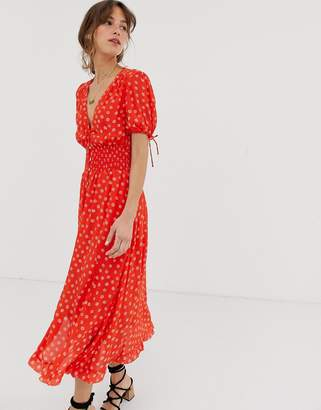 Cleobella Olivia printed midi dress-Red